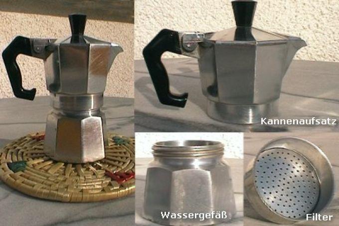 zubereitung eines italienischen kaffees mit der mokkakanne. Black Bedroom Furniture Sets. Home Design Ideas